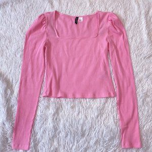 H&M Neon Pink Ribbed Long Sleeve Top